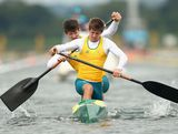 Alex Haas and Jake Donaghey (L) of Australia compete during the Men's Canoe Double (C2) 1000m Sprint Semi Finals on Day 11