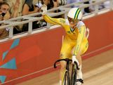 Anna Meares of Australia celebrates winning the Women's Sprint Track Cycling Semi Final on Day 11 of the London 2012 Olympic Games at Velodrome on August 7, 2012 in London, England.