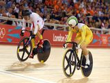 LONDON, ENGLAND - AUGUST 07:  Anna Meares (R) of Australia competes against Shuang Guo of China during the Women's Sprint Track Cycling Semi Final on Day 11 of the London 2012 Olympic Games at Velodrome on August 7, 2012 in London, England.