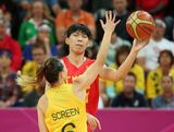 LONDON, ENGLAND - AUGUST 07:  Nan Chen #15 of China passes the ball around Jennifer Screen #6 of Australia during the Women's Basketball quaterfinal on Day 11 of the London 2012 Olympic Games at the Basketball Arena on August 7, 2012  in London, England.