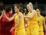 (L-R) Belinda Snell #12, Lauren Jackson #15 and Jenna O'Hea #4 of Australia congraulate China after defeating them in the Women's Basketball quaterfinal on Day 11 of the London 2012 Olympic Games at the Basketball Arena on August 7, 2012  in London, England.