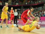 Rachel Jarry #13 of Australia dives for a loose ball during the Women's Basketball quaterfinal against China on Day 11 of the London 2012 Olympic Games at the Basketball Arena on August 7, 2012  in London, England.