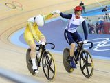 Anna Meares (L) of Australia celebrates winning the Gold medal ahead of Victoria Pendleton of Great Britain in the Women's Sprint Track Cycling Final on Day 11 of the London 2012 Olympic Games at Velodrome on August 7, 2012 in London, England.