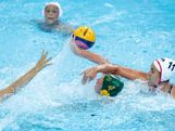 Holly Lincoln-Smith of Australia and Annika Dries of the United States compete for the ball in the Women's Water Polo semifinal match between Australia and the United States at the Water Polo Arena on August 7, 2012 in London, England.