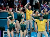 The Australian bench celebrate a goal in the Women's Water Polo semifinal match between Australia and the United States at the Water Polo Arena on August 7, 2012 in London, England.