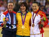 (L-R) Silver medallist Victoria Pendleton of Great Britain, Gold medallist Anna Meares, and Bronze medallist Shuang Guo of China celebrate during the medal ceremony for the Women's Sprint Track Cycling Final on Day 11 of the London 2012 Olympic Games at Velodrome on August 7, 2012 in London, England.