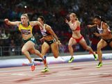 Sally Pearson leads Jessica Zelinka of Canada and Nevin Yanit of Turkey during the Women's 100m Hurdles Final on Day 11 of the London 2012 Olympic Games at Olympic Stadium on August 7, 2012 in London, England.