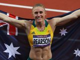 Sally Pearson celebrates after winning the gold medal in the Women's 100m Hurdles Final on Day 11 of the London 2012 Olympic Games at Olympic Stadium on August 7, 2012 in London, England.