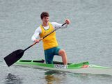 Jake Donaghey of Australia competes during the Men's Canoe Single (C1) 1000m Canoe Sprint Finals on Day 12
