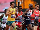 Collis Birmingham of Australia, Amanuel Mesel of Eritrea, Mohamed Farah of Great Britain, Hayle Ibrahimov of Azerbaijan and Arne Gabius of Germany compete in the Men's 5000m Round 1 Heats on Day 12 of the London 2012 Olympic Games at Olympic Stadium on August 8, 2012 in London, England.