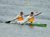 Dave Smith (R) and Ken Wallace of Australia compete in the Men's Kayak Double (K2) 1000m Canoe Sprint  finals during the Canoe Sprint on Day 12 of the London 2012 Olympic Games at Eton Dorney on August 8, 2012 in Windsor, England.