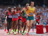 Craig Mottram of Australia leads the pack during the Men's 5000m Round 1 Heats on Day 12 of the London 2012 Olympic Games at Olympic Stadium on August 8, 2012 in London, England.