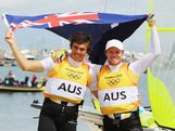 Nathan Outteridge (R) and Iain Jensen (L) of Australia celebrate winning gold in the Men's 49er Sailing on Day 12 of the London 2012 Olympic Games at the Weymouth & Portland Venue at Weymouth Harbour on August 8, 2012 in Weymouth, England.  (Photo by Getty Images)