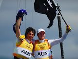 Nathan Outteridge (R) and Iain Jensen (L) of Australia celebrate winning gold in the Men's 49er Sailing on Day 12 of the London 2012 Olympic Games at the Weymouth & Portland Venue at Weymouth Harbour on August 8, 2012 in Weymouth, England.