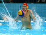 Joel Dennerley #1 of Australia makes a save with his body in the Men's Water polo quarterfinal match between Australia and Serbia on Day 12 of the London 2012 Olympic Games at Water Polo Arena on August 8, 2012 in London, England.