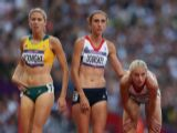Kaila McKnight of Australia, Lisa Dobriskey and Hannah England of Great Britain look on after competing in the Women's 1500m Semifinals on Day 12 of the London 2012 Olympic Games at Olympic Stadium on August 8, 2012 in London, England.