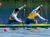 Alex Haas and Jake Donaghey of Australia in action during the Men's Kayak Double (K2) 1000m Canoe Sprint Final B on Day 13 of the London 2012 Olympic Games at Eton Dorney on August 9, 2012 in Windsor, England.