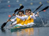 Tate Smith, Dave Smith, Murray Stewart, and Jacob Clear of Australia compete in the Men's Kayak Four (K4) 1000m Canoe Sprint on Day 13 of the London 2012 Olympic Games at Eton Dorney on August 9, 2012 in Windsor, England.