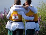 Tate Smith, Dave Smith, Murray Stewart, and Jacob Clear of Australia celebrate winning the Gold medal in the Men's Kayak Four (K4) 1000m Canoe Sprint on Day 13 of the London 2012 Olympic Games at Eton Dorney on August 9, 2012 in Windsor, England.