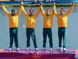 WINDSOR, ENGLAND - AUGUST 09:  Tate Smith, Dave Smith, Murray Stewart, and Jacob Clear of Australia celebrate winning the Gold medal during the medal ceremony for the Men's Kayak Four (K4) 1000m Canoe Sprint on Day 13 of the London 2012 Olympic Games at Eton Dorney on August 9, 2012 in Windsor, England.