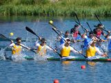 Tate Smith, Dave Smith, Murray Stewart, and Jacob Clear of Australia compete in the Men's Kayak Four (K4) 1000m Canoe Sprint on Day 13 of the London 2012 Olympic Games at Eton Dorney at Eton Dorney on August 9, 2012 in Windsor, England.