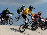 Khalen Young (2L) of Australia leads the pack during the Men's BMX Cycling Quarter Finals on Day 13 of the London 2012 Olympic Games at BMX Track on August 9, 2012 in London, England.