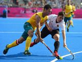 Jamie Dwyer of Australia competes with Tobias Hauke of Germany during the Men's Hockey Semi Final match between Australia and Germany on Day 13 of the London 2012 Olympic Games at Riverbank Arena Hockey Centre on August 9, 2012 in London, England.