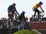 Brian Kirkham of Australia leads the field during the Men's BMX Cycling Quarter Finals on Day 13 of the London 2012 Olympic Games at BMX Track on August 9, 2012 in London, England.