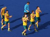 The Australia players look dejected at the end of the Men's Hockey Semi Final match between Australia and Germany on Day 13 of the London 2012 Olympic Games at Riverbank Arena Hockey Centre on August 9, 2012 in London, England.