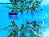 LONDON, ENGLAND - AUGUST 09:  Australia compete in the Women's Teams Synchronised Swimming Technical Routine on Day 13 of the London 2012 Olympic Games at the Aquatics Centre on August 9, 2012 in London, England.