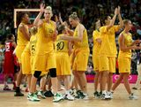 Lauren Jackson #15 of Australia and teammates wave to the crowd after being defeated 86-73 by United States in the Women's Basketball semifinal on Day 13 of the London 2012 Olympics Games at North Greenwich Arena on August 9, 2012 in London, England.