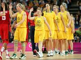 Kristi Harrower #10 of Australia high fives United States players after the Women's Basketball semifinal on Day 13 of the London 2012 Olympics Games at North Greenwich Arena on August 9, 2012 in London, England.
