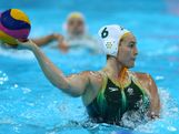 LONDON, ENGLAND - AUGUST 09:  Bronwen Knox #6 of Australia passes the ball during the Women's Water Polo Bronze Medal match between Australia and Hungary on Day 13 of the London 2012 Olympic Games at the Water Polo Arena on August 9, 2012 in London, England.