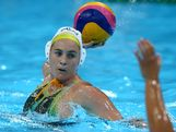 LONDON, ENGLAND - AUGUST 09: Ash Southern #10 of Australia passes the ball during the Women's Water Polo Bronze Medal match between Australia and Hungary on Day 13 of the London 2012 Olympic Games at the Water Polo Arena on August 9, 2012 in London, England.