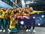 LONDON, ENGLAND - AUGUST 09:  Bronze medallists Australia pose following the medal ceremony for the Women's Water Polo on Day 13 of the London 2012 Olympic Games at the Water Polo Arena on August 9, 2012 in London, England.