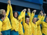 LONDON, ENGLAND - AUGUST 09:  Bronze medallists Australia celebrate on the podium during the medal ceremony for the Women's Water Polo on Day 13 of the London 2012 Olympic Games at the Water Polo Arena on August 9, 2012 in London, England.