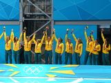 Bronze medallists Australia celebrate on the podium during the medal ceremony for the Women's Water Polo on Day 13 of the London 2012 Olympic Games at the Water Polo Arena on August 9, 2012 in London, England.