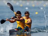 Jesse Phillips (L) and Stephen Bird of Australia compete in the Men's Kayak Double (K2) 200m Canoe Sprint semifinals on Day 14 of the London 2012 Olympic Games at Eton Dorney on August 10, 2012 in Windsor, England.