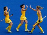 Jodie Schulz #7 of Australia celebrates scoring a pentaly with teammates Jade Close #31 and Hope Munro #28 during the second half against China during the Women's Hockey classification match for 5th and 6th place between Australia and China on Day 14 of the London 2012 Olympic Games at the Riverbank Arena Hockey Centre on August 10, 2012 in London, England.