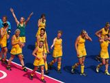 Team Australia celebrate their 2-0 victory over team China during the Women's Hockey classification match for 5th and 6th place between Australia and China on Day 14 of the London 2012 Olympic Games at the Riverbank Arena Hockey Centre on August 10, 2012 in London, England.
