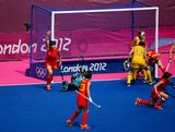 A disallowed goal in the second half against Australia during the Women's Hockey classification match for 5th and 6th place between Australia and China on Day 14 of the London 2012 Olympic Games at the Riverbank Arena Hockey Centre on August 10, 2012 in London, England.