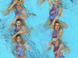 Australia competes in the Women's Teams Synchronised Swimming Free Routine final on Day 14 of the London 2012 Olympic Games at the Aquatics Centre on August 10, 2012 in London, England.