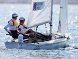 Mathew Belcher and Malcolm Page of Australia compete on their way to winning gold in the Men's 470 Sailing on Day 14 of the London 2012 Olympic Games at the Weymouth & Portland Venue at Weymouth Harbour on August 10, 2012 in Weymouth, England.