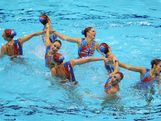 LONDON, ENGLAND - AUGUST 10:  Australia competes in the Women's Teams Synchronised Swimming Free Routine final on Day 14 of the London 2012 Olympic Games at the Aquatics Centre on August 10, 2012 in London, England.