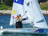 Mathew Belcher (L) and Malcolm Page (R) of Australia celebrate after winning gold in the Men's 470 Sailing on Day 14 of the London 2012 Olympic Games at the Weymouth & Portland Venue at Weymouth Harbour on August 10, 2012 in Weymouth, England.