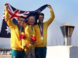 Mathew Belcher (L) and Malcolm Page (R) of Australia celebrate with Australian Sailing Team Head Coach, Victor Kovalenko (C) after winning gold in the Men's 470 Sailing on Day 14 of the London 2012 Olympic Games at the Weymouth & Portland Venue at Weymouth Harbour on August 10, 2012 in Weymouth, England.