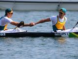 Jesse Phillips and Stephen Bird of Australia shake hands after the Men's Kayak Double (K2) 200m Canoe Sprint Final on Day 15 of the London 2012 Olympic Games at Eton Dorney on August 11, 2012 in Windsor, England.