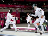 Ed Fernon (left) of Australia competes against Oscar Soto of Mexico in the Fencing event during the Men's Modern Pentathlon on Day 15 of the London 2012 Olympic Games on August 11, 2012 in London, England.