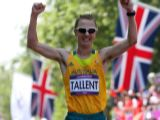 Jared Tallent of Australia crosses the line to win silver during the Men's 50km Walk on Day 15 of the London 2012 Olympic Games at Olympic Stadium on August 11, 2012 in London, England.