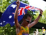 Silver medalist Jared Tallent of Australia celebrates after the Men's 50km Walk on Day 15 of the London 2012 Olympic Games on The Mall on August 11, 2012 in London, England.